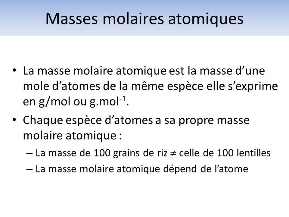 La masse molaire atomique est la masse dune mole datomes de la même espèce elle sexprime en g/mol ou g.mol -1. Chaque espèce datomes a sa propre masse