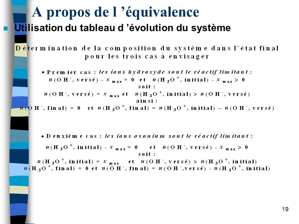 20 A propos de l équivalence n Utilisation du tableau d évolution du système