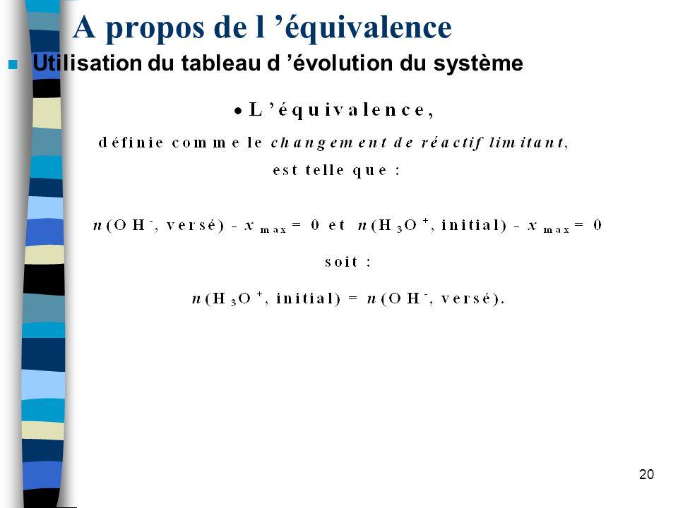 21 « A léquivalence, les réactifs ont réagi dans les proportions stœchiométriques » Cest le cas tout au long du dosage .