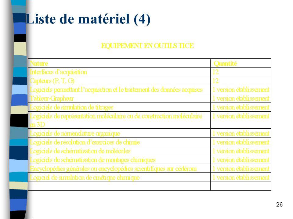 26 Liste de matériel (4)