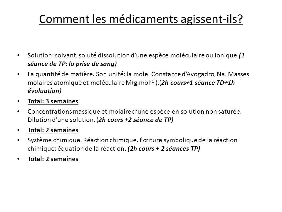 Comment les médicaments agissent-ils? Solution: solvant, soluté dissolution dune espèce moléculaire ou ionique.(1 séance de TP: la prise de sang) La q