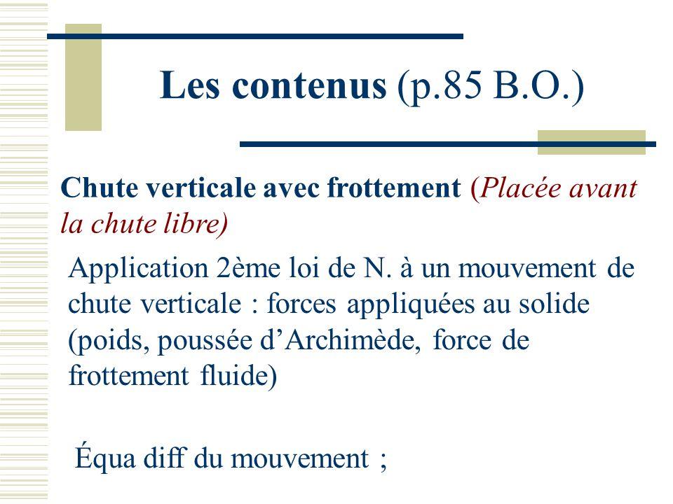 Les contenus (p.85 B.O.) Chute verticale avec frottement (Placée avant la chute libre) Application 2ème loi de N. à un mouvement de chute verticale :