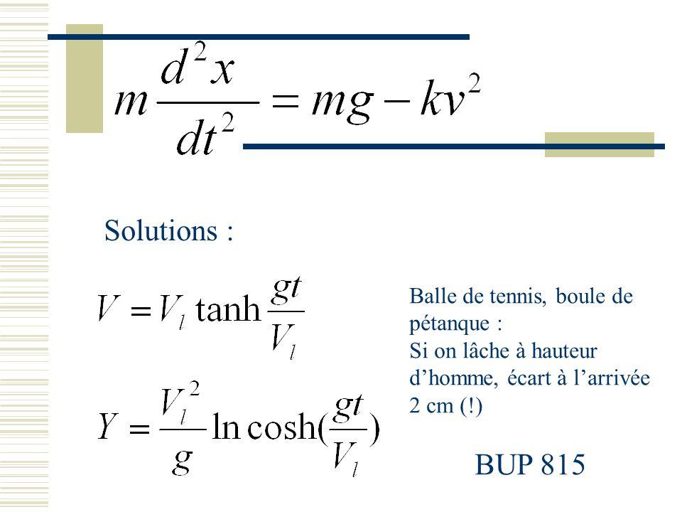 Solutions : Balle de tennis, boule de pétanque : Si on lâche à hauteur dhomme, écart à larrivée 2 cm (!) BUP 815