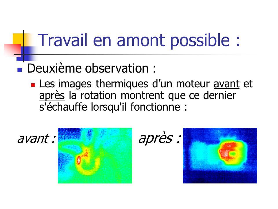 Travail en amont possible : Deuxième observation : Les images thermiques dun moteur avant et après la rotation montrent que ce dernier s échauffe lorsqu il fonctionne : avant : après :