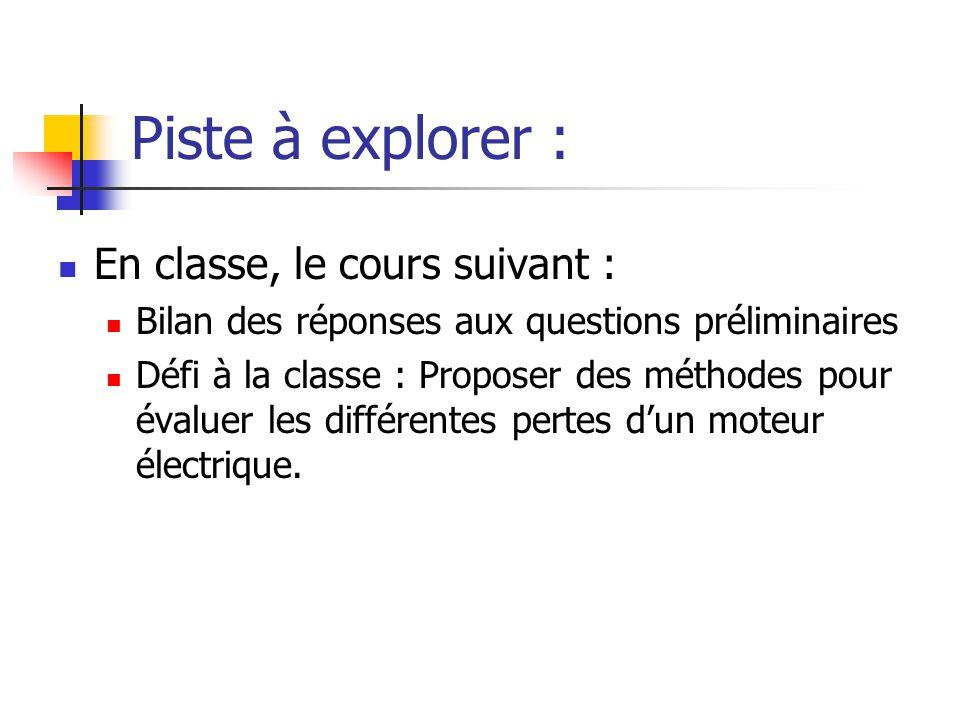 Piste à explorer : En classe, le cours suivant : Bilan des réponses aux questions préliminaires Défi à la classe : Proposer des méthodes pour évaluer les différentes pertes dun moteur électrique.