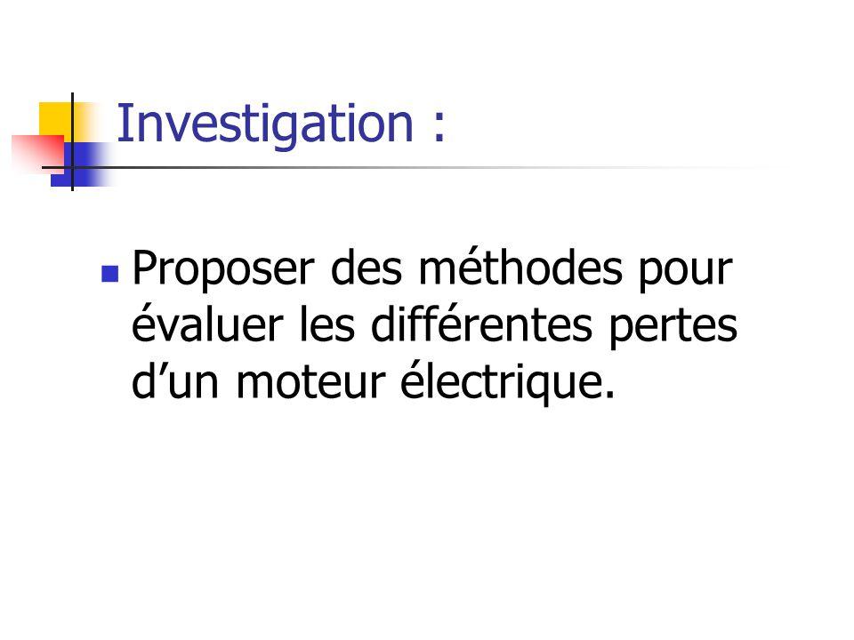 Investigation : Proposer des méthodes pour évaluer les différentes pertes dun moteur électrique.