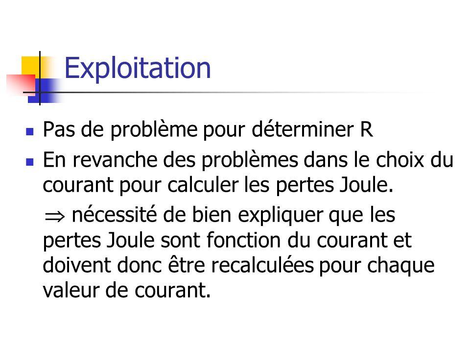 Exploitation Pas de problème pour déterminer R En revanche des problèmes dans le choix du courant pour calculer les pertes Joule. nécessité de bien ex