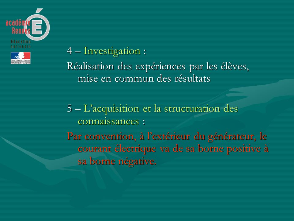 4 – Investigation : Réalisation des expériences par les élèves, mise en commun des résultats 5 – Lacquisition et la structuration des connaissances :