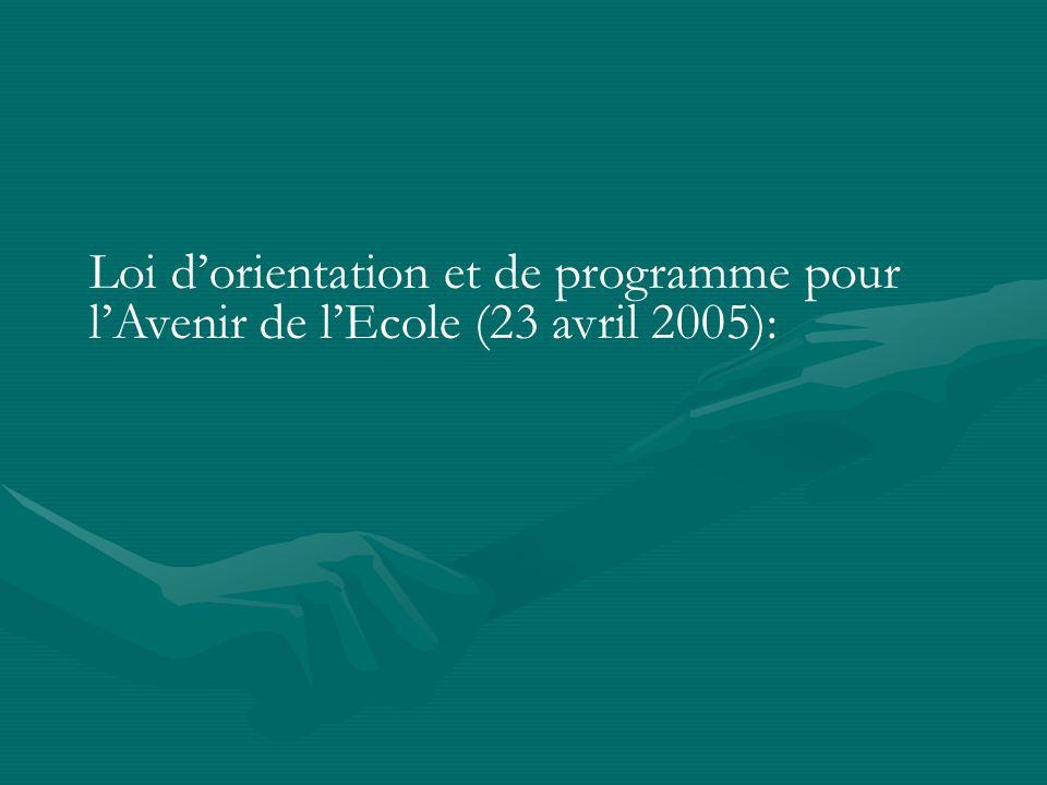 Loi dorientation et de programme pour lAvenir de lEcole (23 avril 2005):