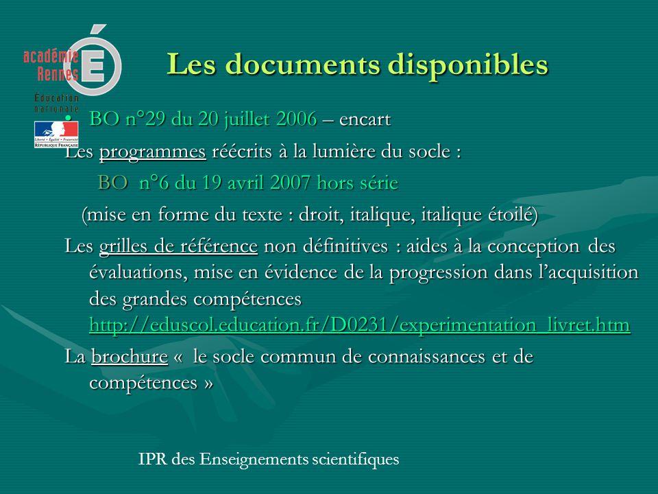 Les documents disponibles Les documents disponibles BO n°29 du 20 juillet 2006 – encartBO n°29 du 20 juillet 2006 – encart Les programmes réécrits à l