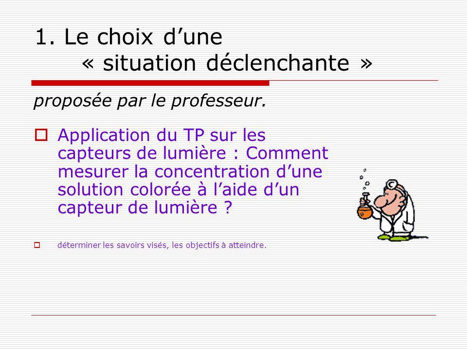 1. Le choix dune « situation déclenchante » proposée par le professeur. Application du TP sur les capteurs de lumière : Comment mesurer la concentrati