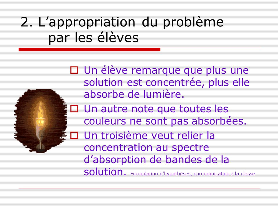 2. Lappropriation du problème par les élèves Un élève remarque que plus une solution est concentrée, plus elle absorbe de lumière. Un autre note que t