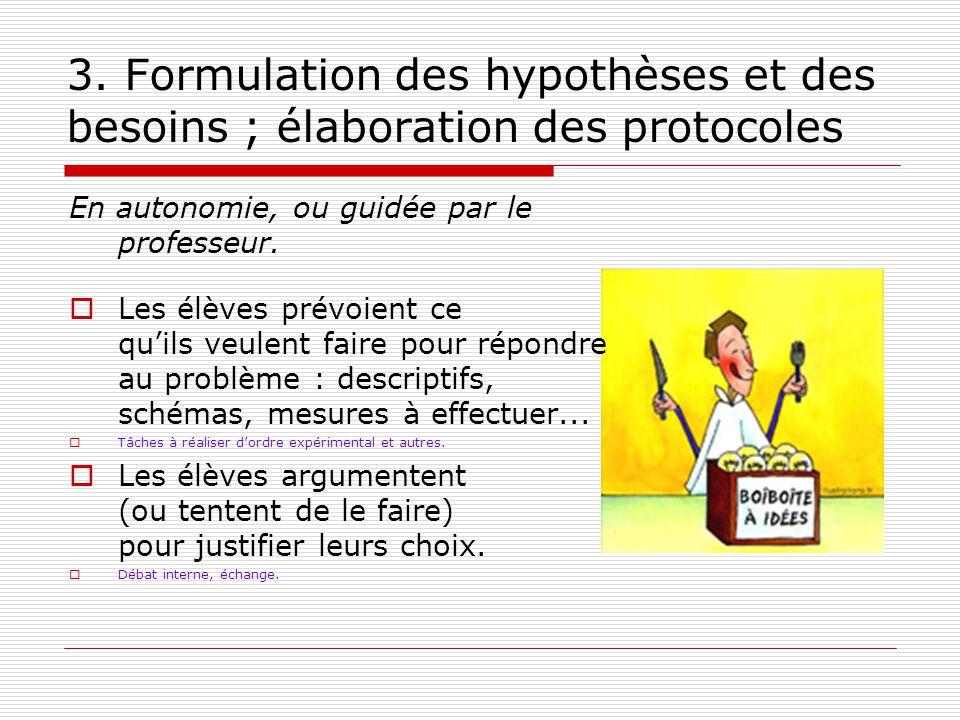 3. Formulation des hypothèses et des besoins ; élaboration des protocoles En autonomie, ou guidée par le professeur. Les élèves prévoient ce quils veu