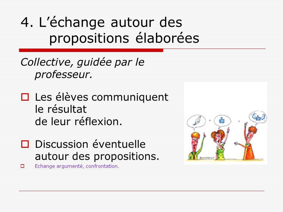 4. Léchange autour des propositions élaborées Collective, guidée par le professeur. Les élèves communiquent le résultat de leur réflexion. Discussion