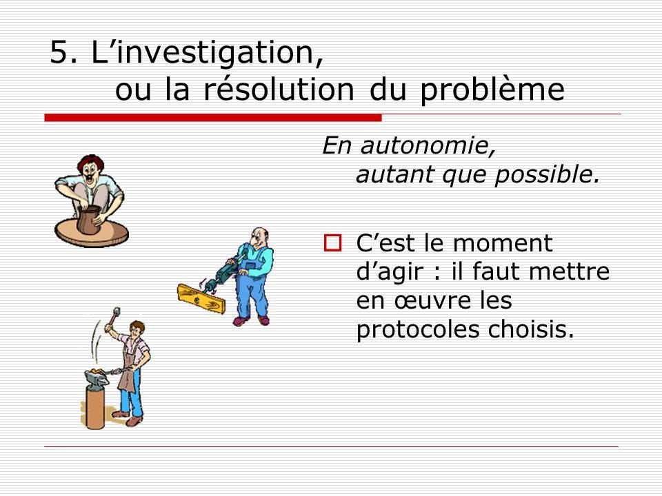 5. Linvestigation, ou la résolution du problème En autonomie, autant que possible. Cest le moment dagir : il faut mettre en œuvre les protocoles chois