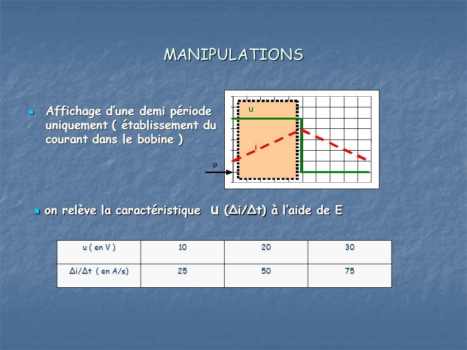 MANIPULATIONS Affichage dune demi période uniquement ( établissement du courant dans le bobine ) Affichage dune demi période uniquement ( établissement du courant dans le bobine ) on relève la caractéristique u (Δi/Δt) à laide de E on relève la caractéristique u (Δi/Δt) à laide de E u ( en V ) 102030 Δi/Δt ( en A/s) 255075