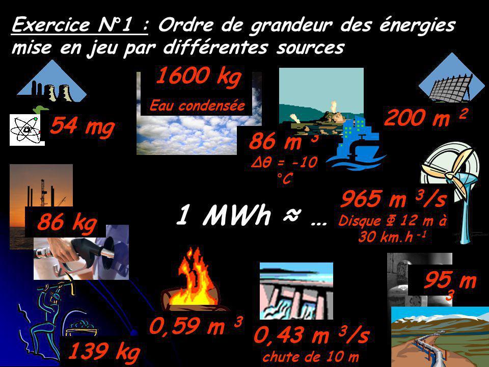 Exercice N°1 : Ordre de grandeur des énergies mise en jeu par différentes sources 1 MWh … 86 kg 139 kg 0,59 m 3 0,43 m 3 /s chute de 10 m 965 m 3 /s Disque Φ 12 m à 30 km.h -1 95 m 3 200 m 2 86 m 3 Δθ = -10 °C 1600 kg Eau condensée 54 mg