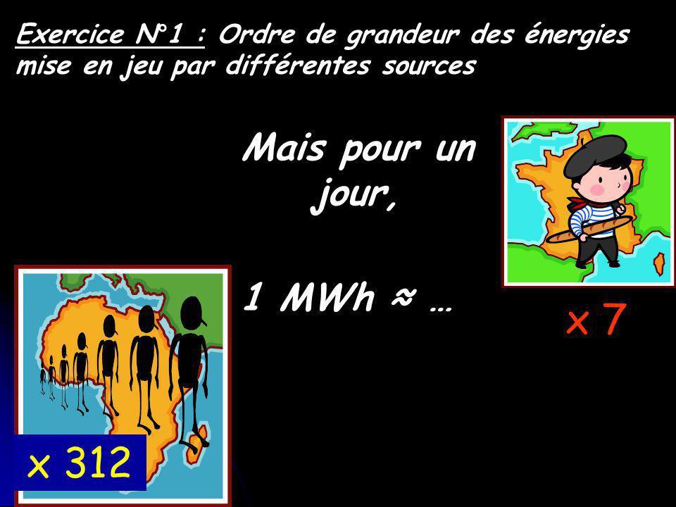 Exercice N°1 : Ordre de grandeur des énergies mise en jeu par différentes sources 1 MWh … x 7 Mais pour un jour, x 312