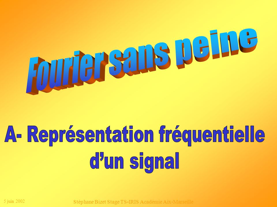 5 juin 2002 Stéphane Bizet Stage TS-IRIS Académie Aix-Marseille Le signal filtré a un spectre qui ne sétend plus que jusquà 3,4 kHz : B max = 3,4 kHz 2.