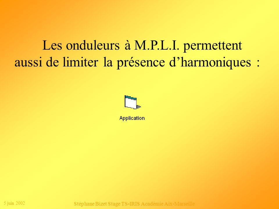 5 juin 2002 Stéphane Bizet Stage TS-IRIS Académie Aix-Marseille Londuleur convertit un signal continu en un signal alternatif.