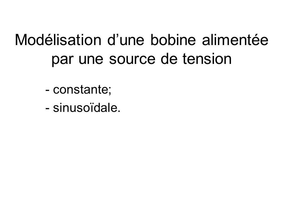 Modélisation dune bobine alimentée par une source de tension - constante; - sinusoïdale.