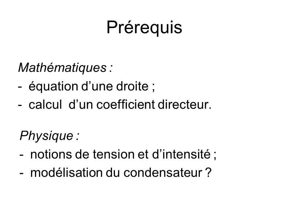 Prérequis Mathématiques : -équation dune droite ; -calcul dun coefficient directeur. Physique : -notions de tension et dintensité ; -modélisation du c