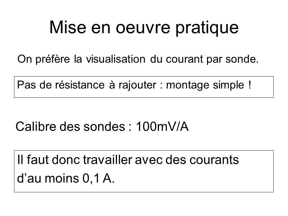 Mise en oeuvre pratique On préfère la visualisation du courant par sonde. Calibre des sondes : 100mV/A Il faut donc travailler avec des courants dau m