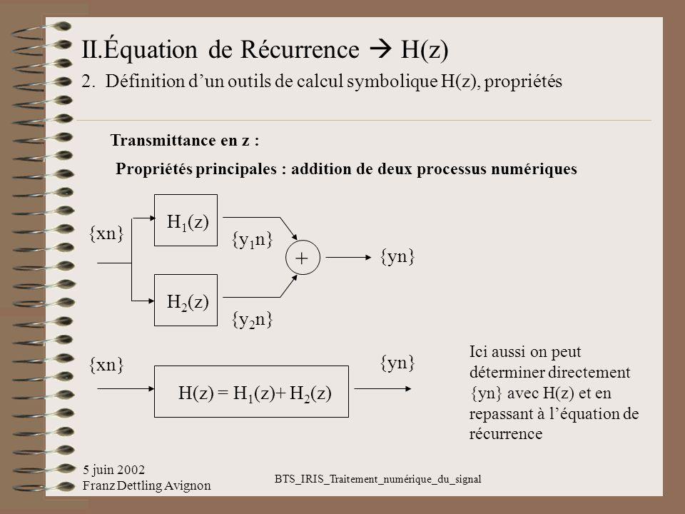 5 juin 2002 Franz Dettling Avignon BTS_IRIS_Traitement_numérique_du_signal II.Équation de Récurrence H(z) 2. Définition dun outils de calcul symboliqu