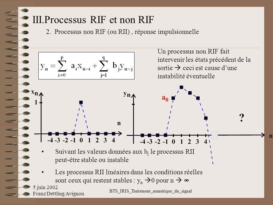 5 juin 2002 Franz Dettling Avignon BTS_IRIS_Traitement_numérique_du_signal III.Processus RIF et non RIF 2. Processus non RIF (ou RII), réponse impulsi