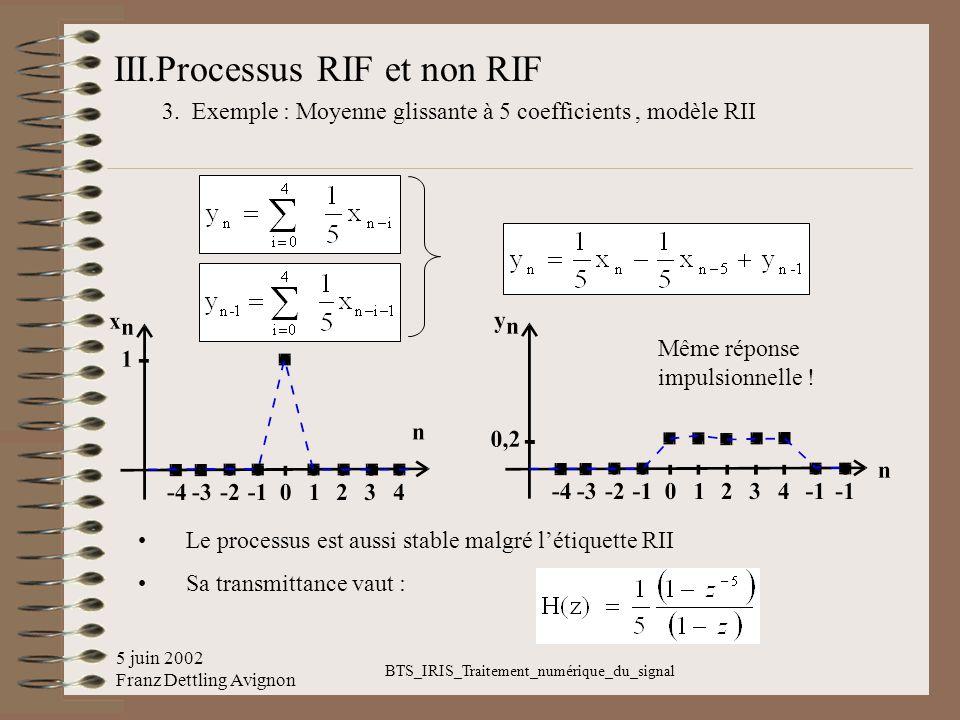 5 juin 2002 Franz Dettling Avignon BTS_IRIS_Traitement_numérique_du_signal III.Processus RIF et non RIF 3. Exemple : Moyenne glissante à 5 coefficient