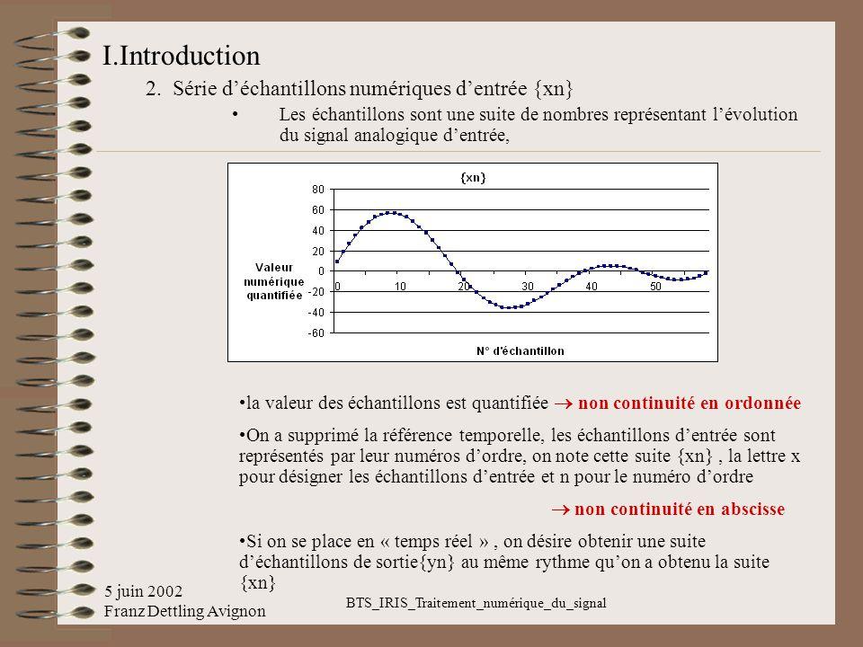 5 juin 2002 Franz Dettling Avignon BTS_IRIS_Traitement_numérique_du_signal I.Introduction 2. Série déchantillons numériques dentrée {xn} Les échantill