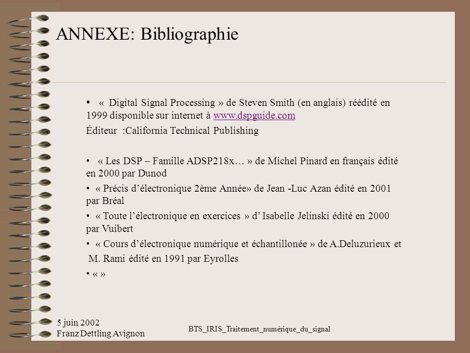 5 juin 2002 Franz Dettling Avignon BTS_IRIS_Traitement_numérique_du_signal ANNEXE: Bibliographie « Digital Signal Processing » de Steven Smith (en ang