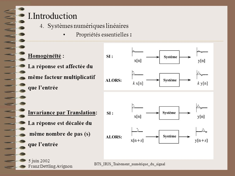 5 juin 2002 Franz Dettling Avignon BTS_IRIS_Traitement_numérique_du_signal I.Introduction 4. Systèmes numériques linéaires Propriétés essentielles : H