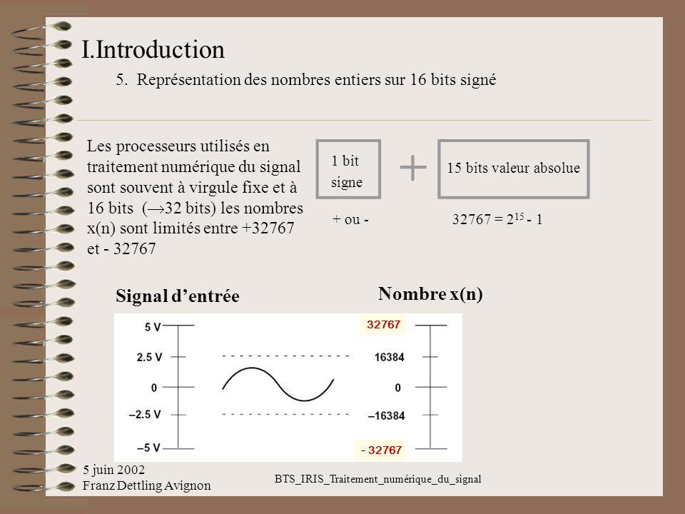 5 juin 2002 Franz Dettling Avignon BTS_IRIS_Traitement_numérique_du_signal I.Introduction 5. Représentation des nombres entiers sur 16 bits signé Les