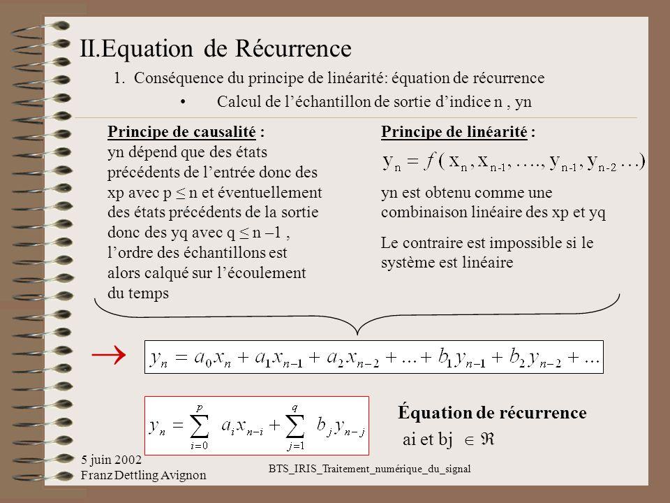 5 juin 2002 Franz Dettling Avignon BTS_IRIS_Traitement_numérique_du_signal II.Equation de Récurrence 1. Conséquence du principe de linéarité: équation