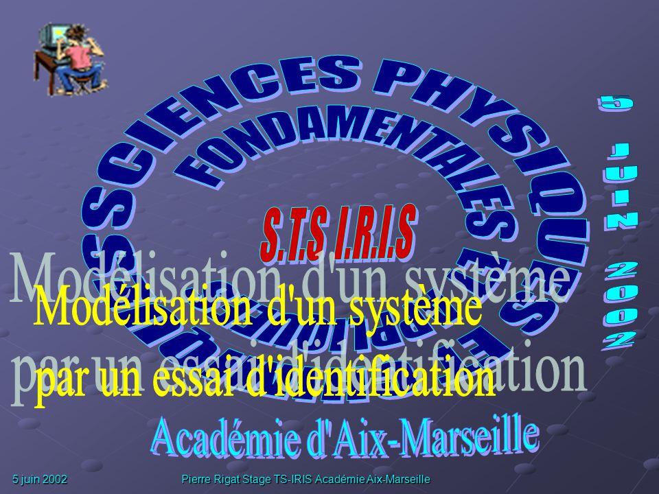 5 juin 2002 Pierre Rigat Stage TS-IRIS Académie Aix-Marseille BIBLIOGRAPHIE : Les systèmes asservis linéaires continus de P.