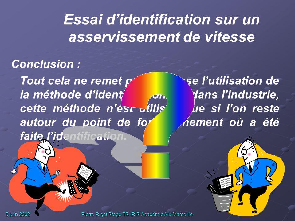 5 juin 2002 Pierre Rigat Stage TS-IRIS Académie Aix-Marseille Questions : Erreurs dues aux mesures et à la méthode ? Validité du modèle utilisé pour l
