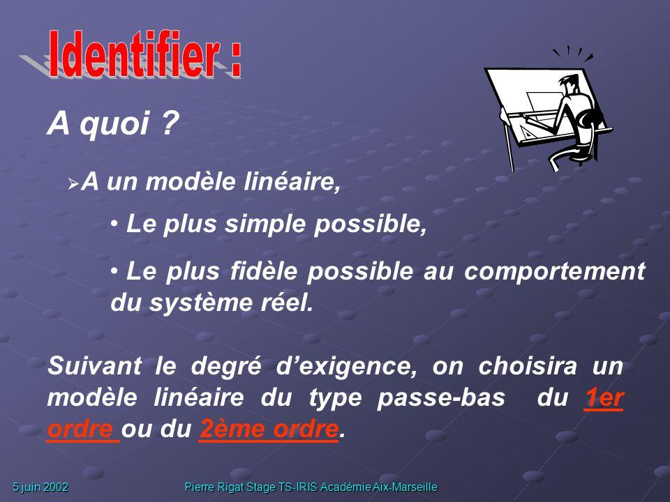 5 juin 2002 Pierre Rigat Stage TS-IRIS Académie Aix-Marseille Pourquoi ? Approche théorique difficile, voir impossible : Paramètres indéterminés, non