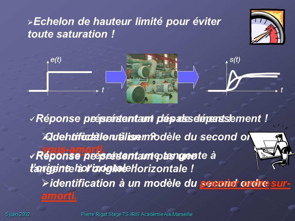 5 juin 2002 Pierre Rigat Stage TS-IRIS Académie Aix-Marseille Comment ? A partir de lobservation de la réponse du système réel à une sollicitation con