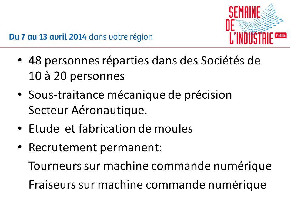 48 personnes réparties dans des Sociétés de 10 à 20 personnes Sous-traitance mécanique de précision Secteur Aéronautique. Etude et fabrication de moul