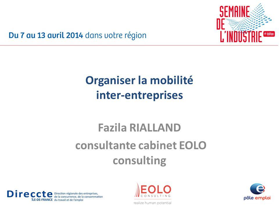 Organiser la mobilité inter-entreprises Fazila RIALLAND consultante cabinet EOLO consulting
