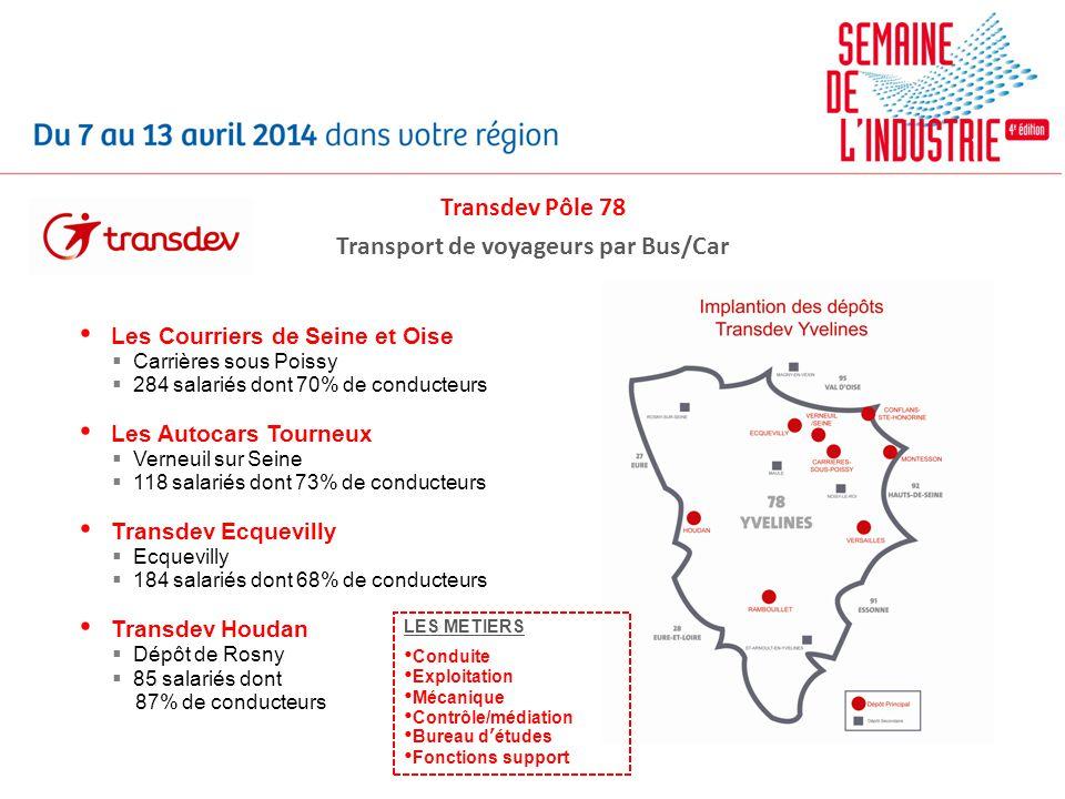 Transdev Pôle 78 Transport de voyageurs par Bus/Car Les Courriers de Seine et Oise Carrières sous Poissy 284 salariés dont 70% de conducteurs Les Auto