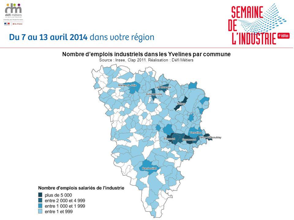 Nombre demplois industriels dans les Yvelines par commune Source : Insee, Clap 2011. Réalisation : Défi Métiers