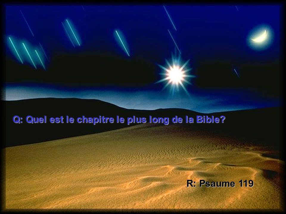 Q: Quel est le chapitre le plus long de la Bible? R: Psaume 119