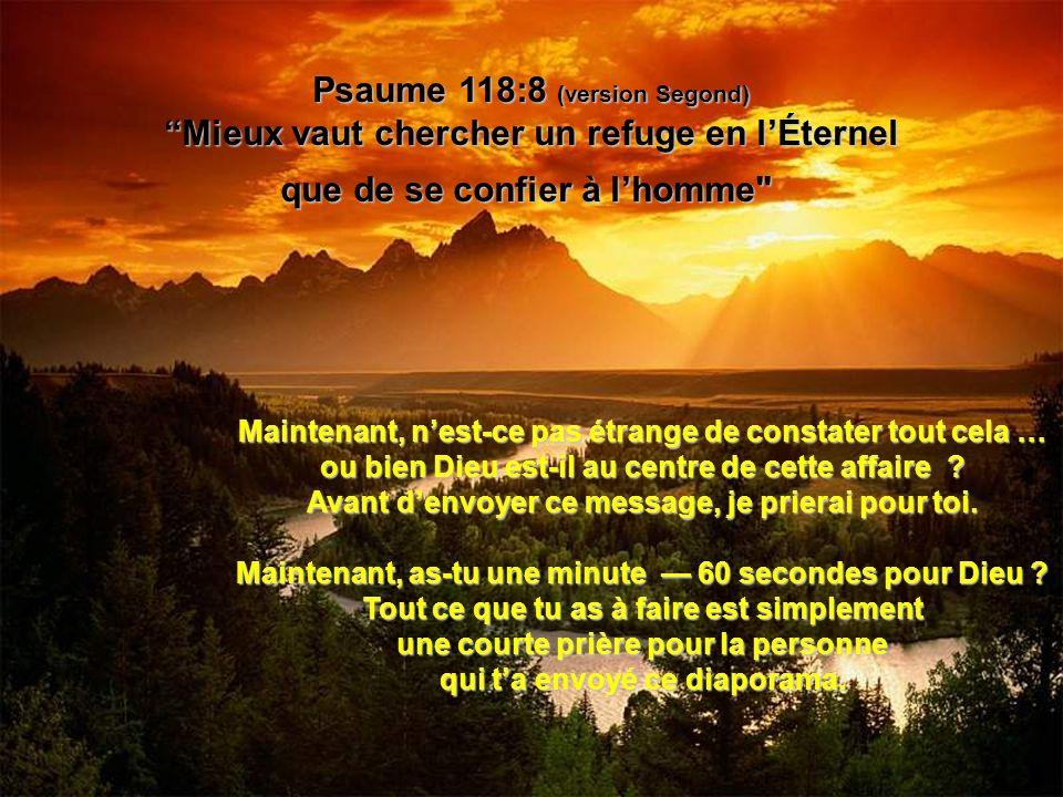 Psaume 118:8 (version Segond) Mieux vaut chercher un refuge en lÉternel que de se confier à lhomme