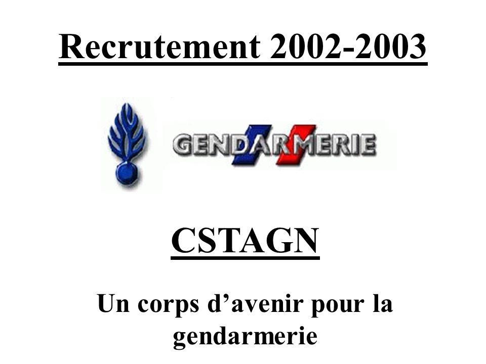 Recrutement 2002-2003 CSTAGN Un corps davenir pour la gendarmerie