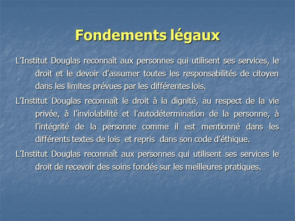 Fondements légaux LInstitut Douglas reconnaît aux personnes qui utilisent ses services, le droit et le devoir dassumer toutes les responsabilités de c