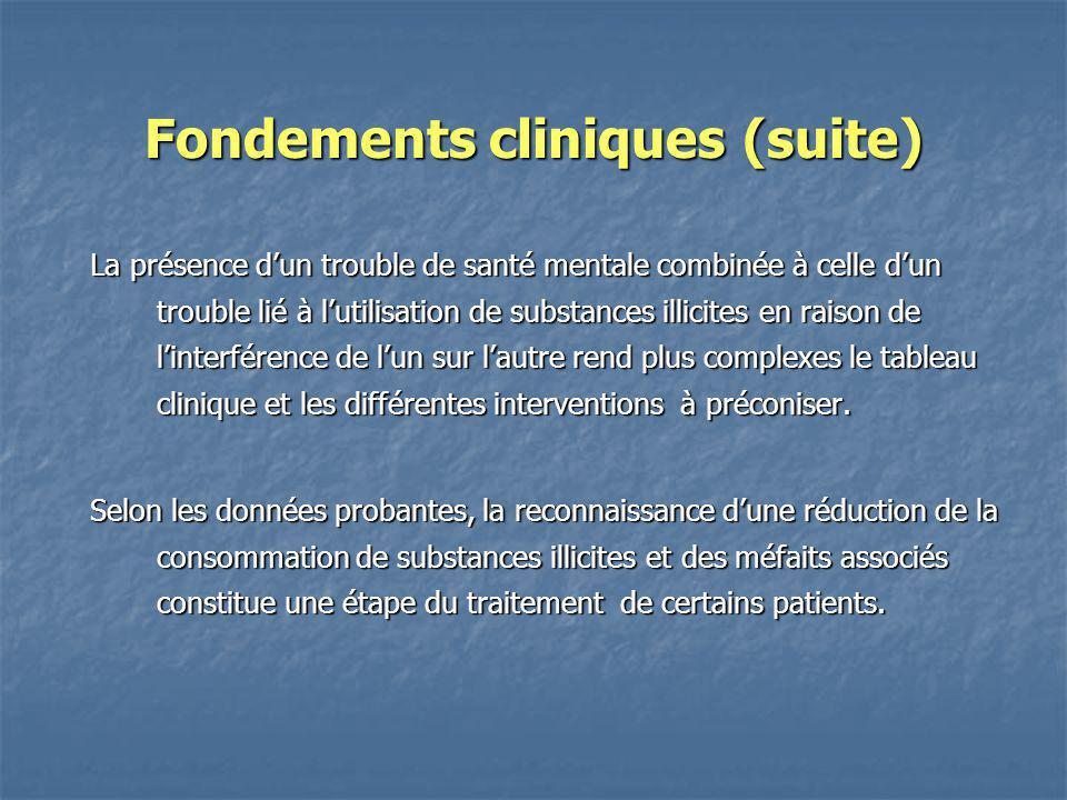 Fondements cliniques (suite) La présence dun trouble de santé mentale combinée à celle dun trouble lié à lutilisation de substances illicites en raiso