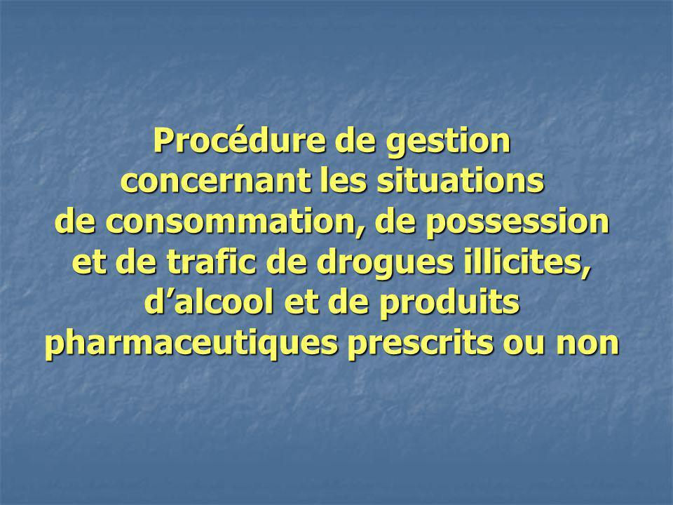 Procédure de gestion concernant les situations de consommation, de possession et de trafic de drogues illicites, dalcool et de produits pharmaceutique