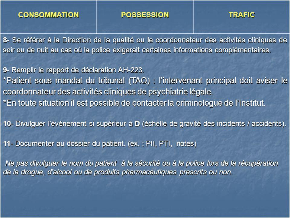 CONSOMMATIONPOSSESSIONTRAFIC 8- Se référer à la Direction de la qualité ou le coordonnateur des activités cliniques de soir ou de nuit au cas où la po